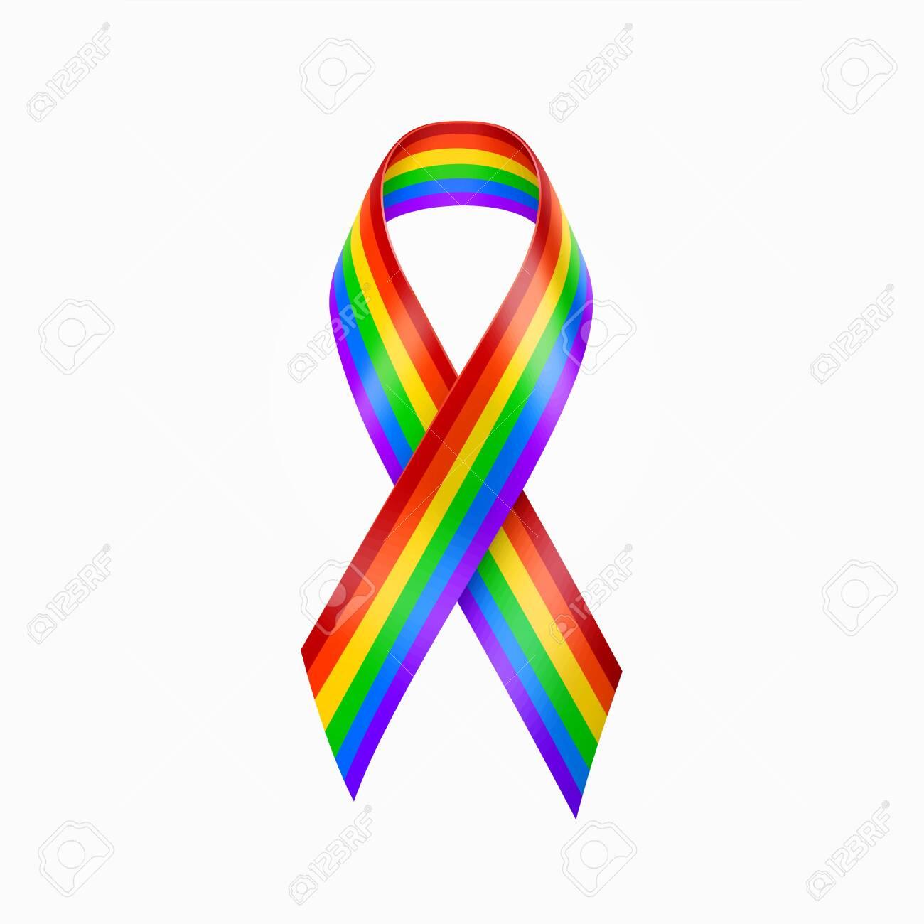 Rainbow Ribbon. Gay pride, LGBT rainbow ribbon. Homosexual sign vector